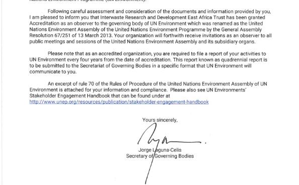 UN Environment Programme Accreditation